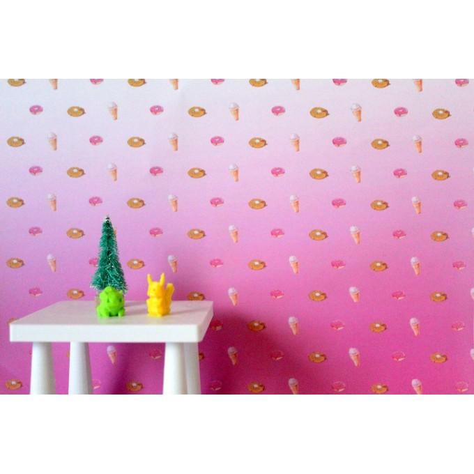 FREE PRINTABLE dollhouse wallpaper donut nursery