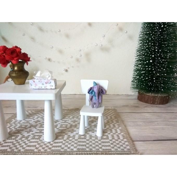 Miniature elephant cotton felt dollhouse nursery