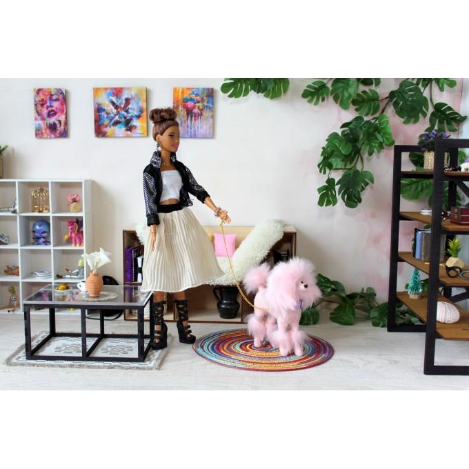 Miniature dog pink poodle, realistic BJD doll prop