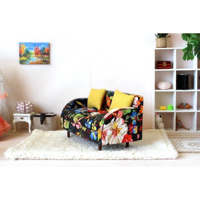 Miniature sofa 1:6 scale bright colorful dollhouse