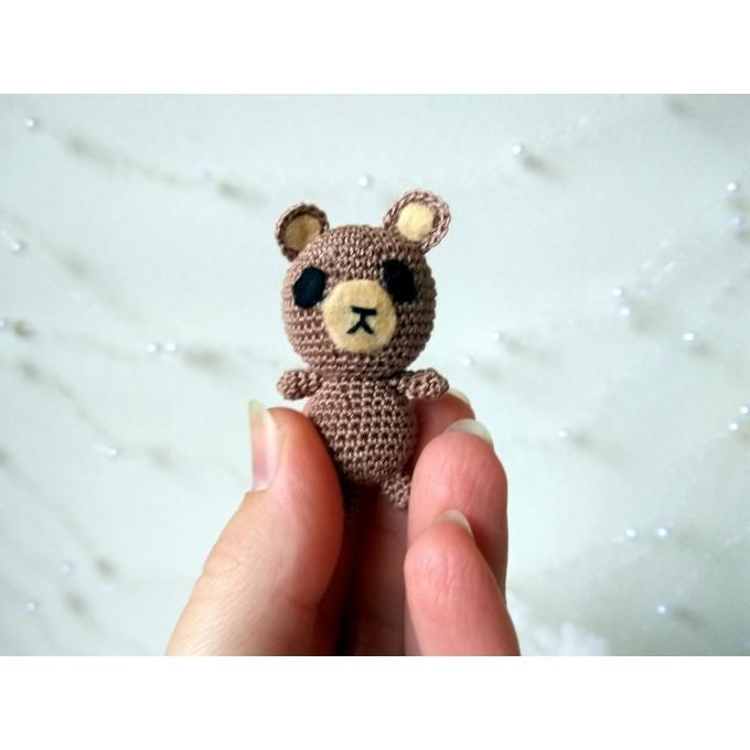 Miniature teddy bear, crochet handmade doll toy