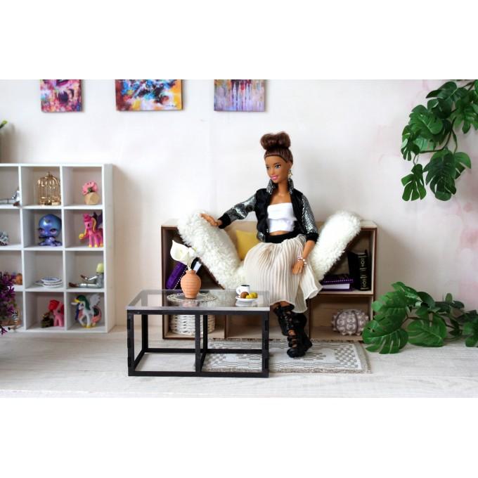 Modern dollhouse table miniature furniture 1:6 scale