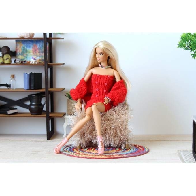 12-inch doll dress with bolero wrap sweater, shrug red color